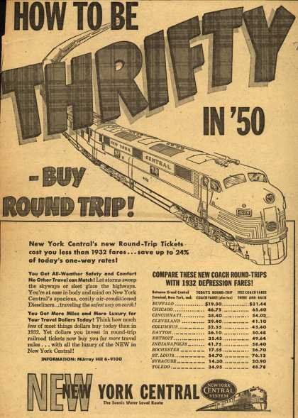 New York Central System's Round-Trip Tickets – How To Be Thrifty in '50 – Buy Round Trip (1950)