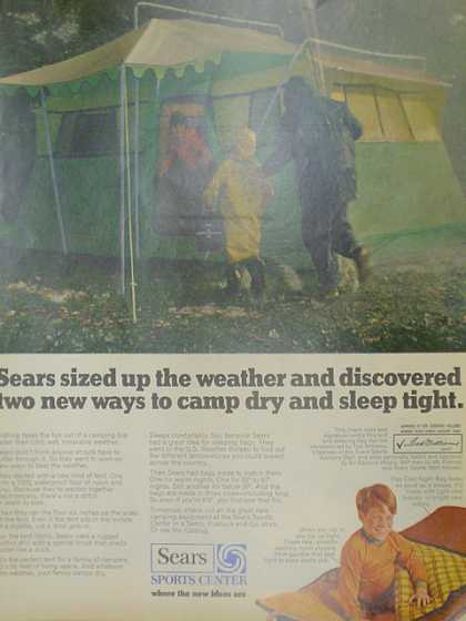 Sears sports center. Sleeping bags and tents. (1970)