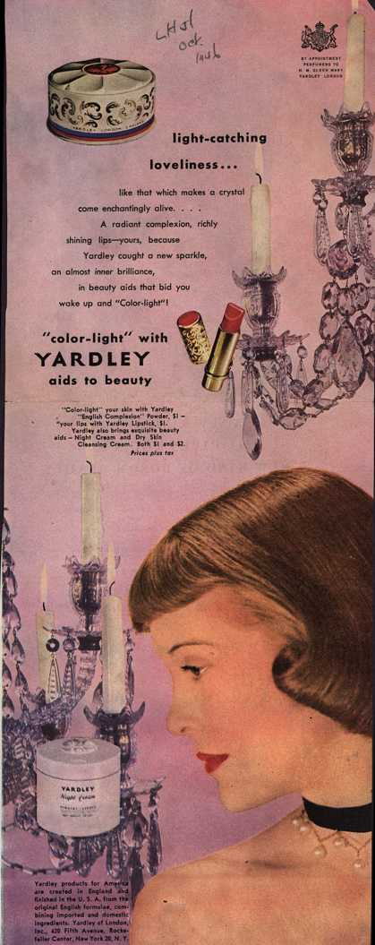 "Yardley of London's Various – Light-catching loveliness... ""Color-light"" with Yardley aids to beauty (1946)"