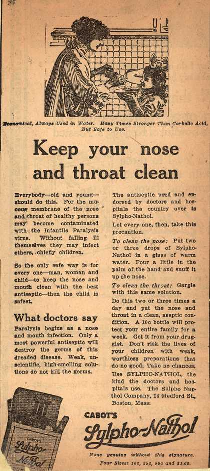 "Sylpho-Nathol Co.'s Cabot's Sylpho-Nathol – ""Keep your nose and throat clean."" (1916)"