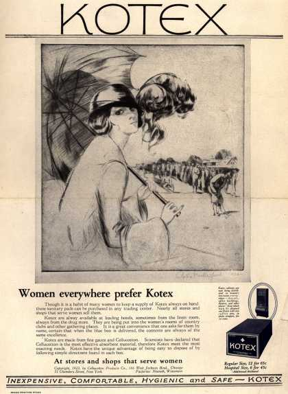 Cellucotton Products Company's Sanitary Napkins – Kotex: Women everywhere prefer Kotex (1923)