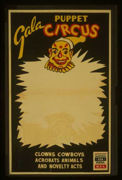 Gala puppet circus – Clowns, cowboys, acrobats, animals, and novelty acts. (1936)