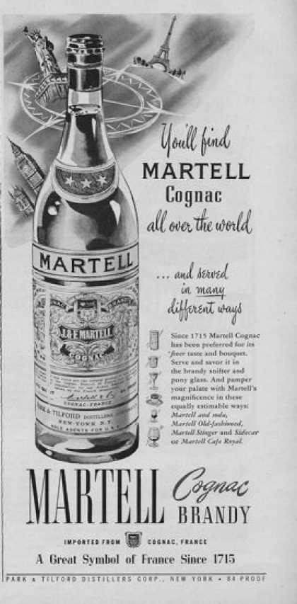 Martell Cognac Brandy Bottle (1951)