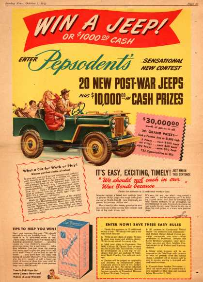 Lever Brothers Company's Pepsodent Tooth Powder – Win A Jeep (1945)