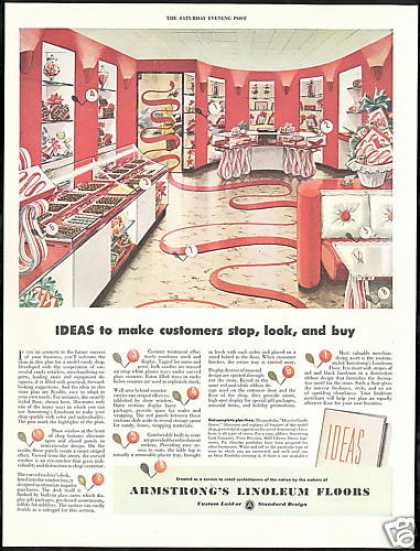 Red White Candy Store Armstrong Linoleum Floor (1946)