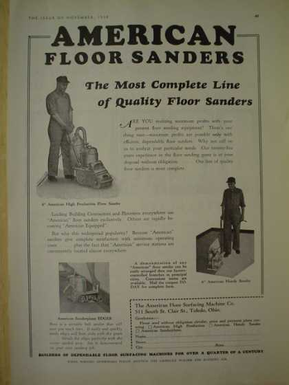 American Floor Surfacing Machine Co. American floor sanders. (1930)