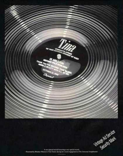 Tina Turner Presentation Record Print Feature (1985)