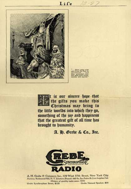 A.H. Grebe & Company's Radio – It is our sincere hope that the gifts you make this Christmas may bring to the little worlds into which they go, something of the joy and happiness t (1927)