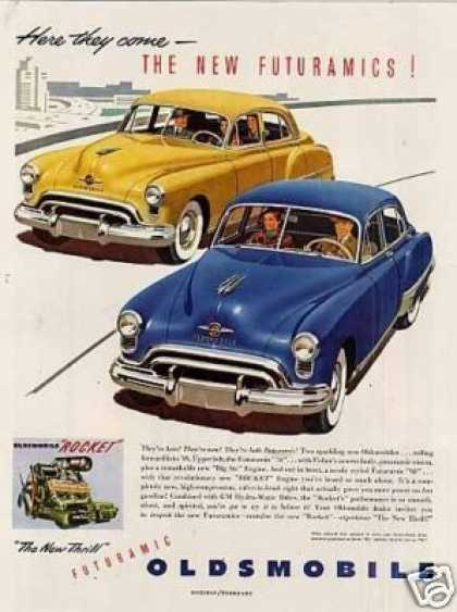 "Oldsmobile Cars Ad ""Here They Come... (1949)"