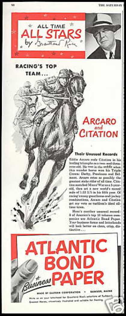 Race Horse Citation Jockey Arcaro Atlantic (1952)