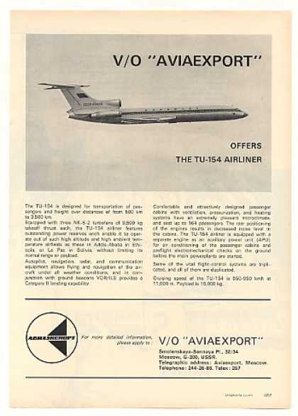 V/O Aviaexport TU-154 Airliner Aircraft Photo (1971)