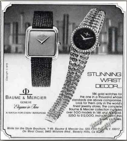 "Baume & Mercier Watches ""Stunning Wrist Decor"" (1978)"