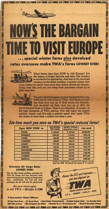 Trans World Airline's low fares – Now's The Bargain Time To Visit Europe (1949)