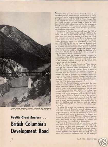 """Pge...british Columbia's Development Road""Article (1952)"