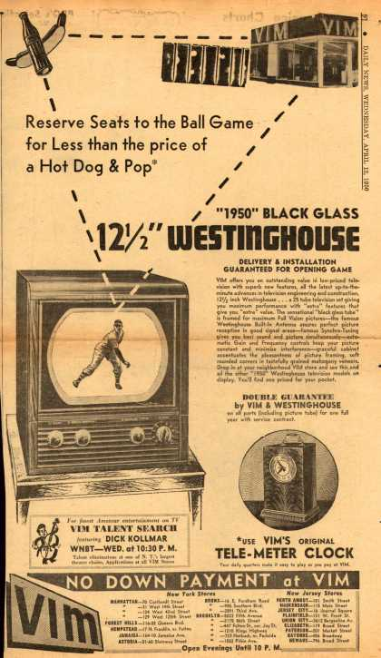 Westinghouse Electric Corporation's Television – Reserve Seats to the Ball Game for Less than the price of a Hot Dog & Pop (1950)
