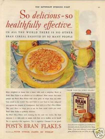 Post's Bran Flakes Cereal Color (1929)