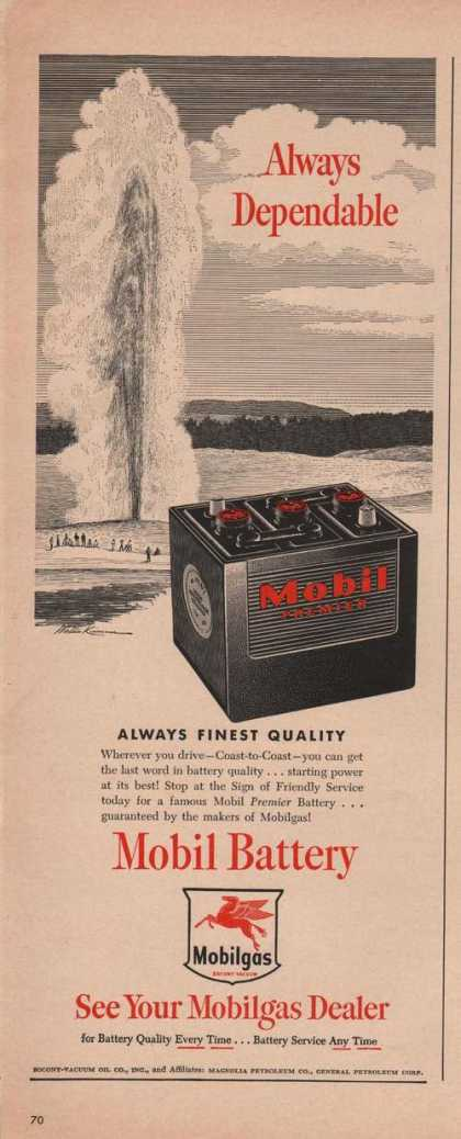 Mobil Battery Always Dependable (1949)