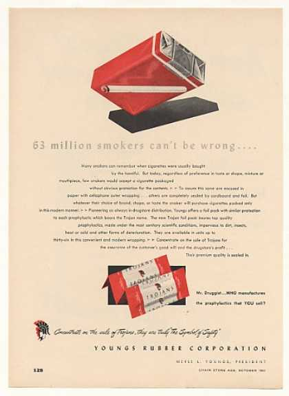 Youngs Rubber Trojans Cigarette Package Trade (1953)