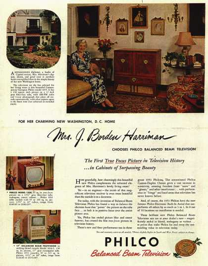 Philco's Television – Mrs. J. Borden Harriman Chooses Philco Balanced Beam Television (1950)