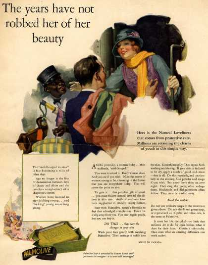 Palmolive Company's Palmolive Soap – The years have not robbed her of her beauty (1925)
