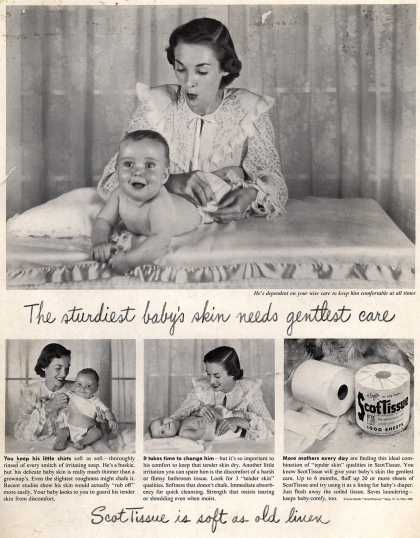 Scott Paper Company's ScotTissue – The sturdiest baby's skin needs gentlest care (1948)