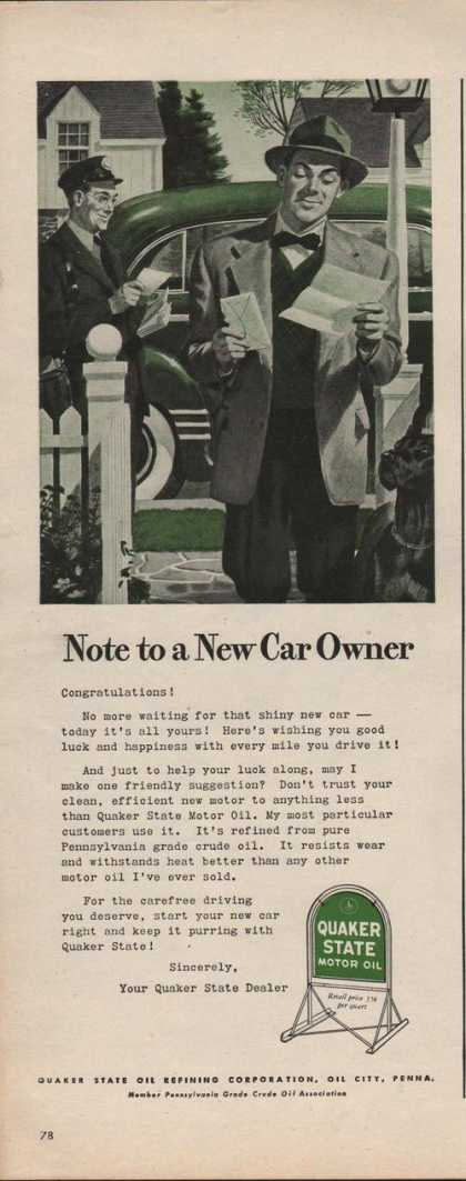 Note To a New Car Owner Quaker State Oil A (1942)