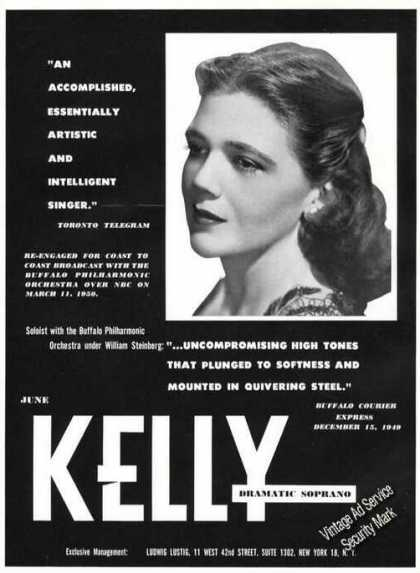 June Kelly Photo Opera Promo Rare (1950)