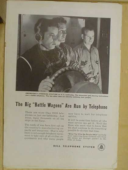 Bell Telephone Co. The big battle wagons are run by telephone (1941)