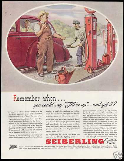 Seiberling Rubber Tire Gas Station Fill up Car (1944)