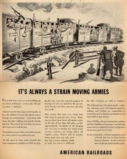 American Railroad's Rail Passenger Service – It's Always a Strain Moving Armies (1945)