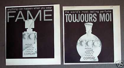 Corday Perfume Fame &amp; Toujours Moi 2 Print Ads (1962)
