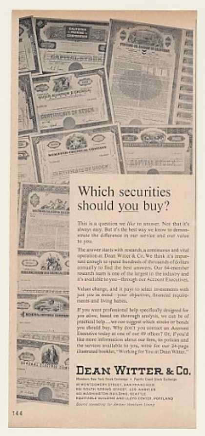 Dean Witter Co Which Securities Should You Buy (1962)