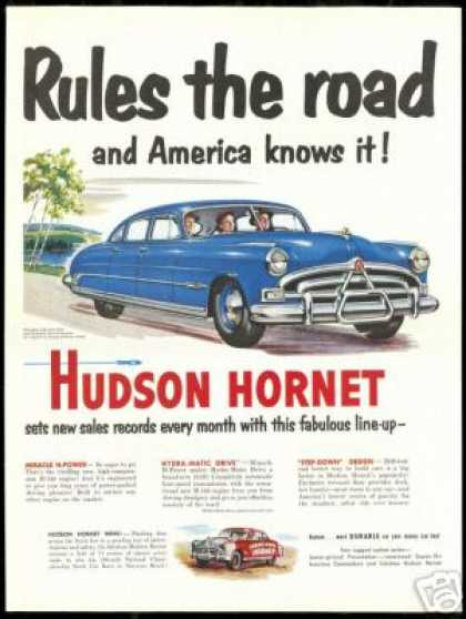 Blue Hudson Hornet Car Rules Vintage (1951)