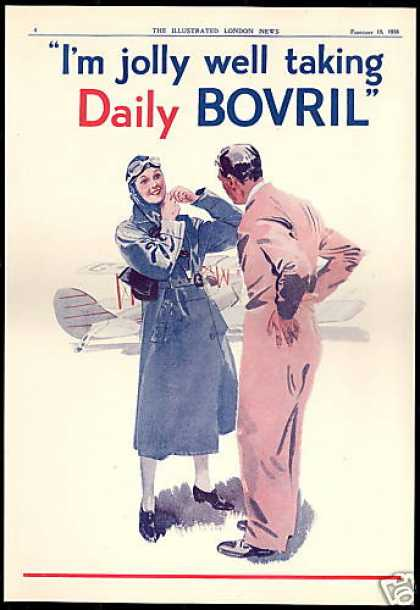 Female Airplane Pilot Taking Bovril Vintage UK (1938)