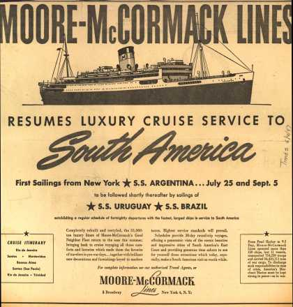 Moore-McCormack Line's South America Luxury Cruises – Moore-McCormack Line Resumes Luxury Cruise Service to South America (1947)
