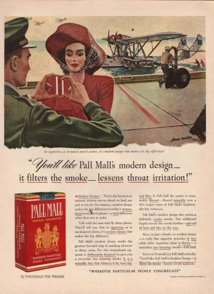 Pall Mall Cigarettes Modern Design (1941)
