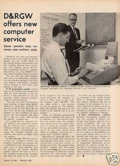 """D&rgw Offers New Computer Service"" Article (1968)"