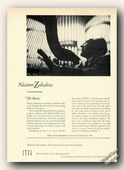Nicanor Zabaleta Photo Spanish Harpist (1970)