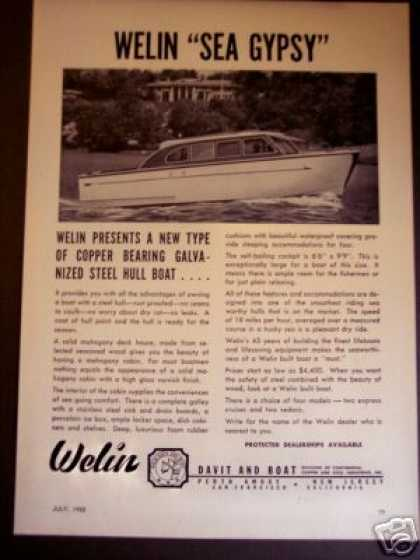 Welin Sea Gypsy Cabin Cruiser Yacht Boat Photo (1950)
