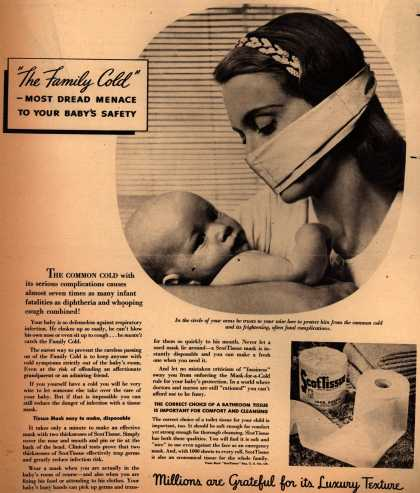"Scott Paper Company's ScotTissue – ""The Family Cold"" – Most Dread Menace To Your Baby's Safety (1945)"