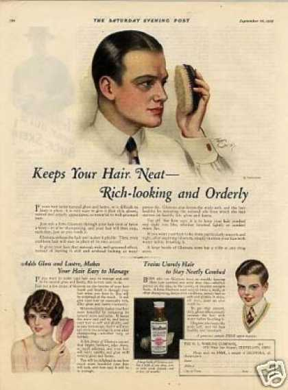 Glostora Hair Cream Ad Earl Christy Art (1925)