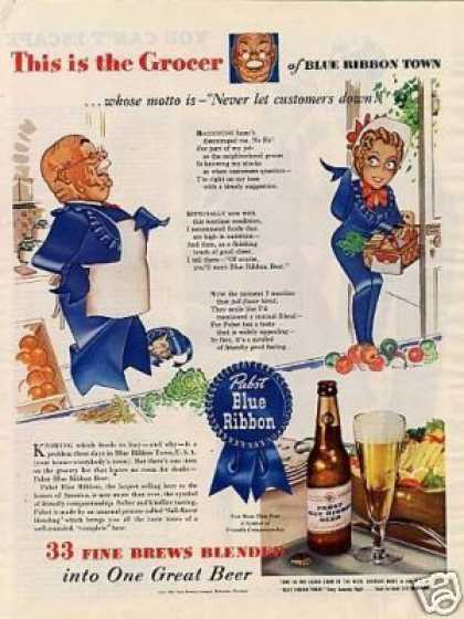 Pabst Blue Ribbon Beer Ad Grocer (1943)