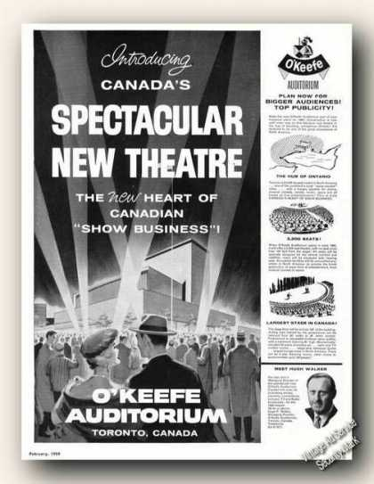 O'keefe Auditorium Toronto New Theatre Rare (1959)