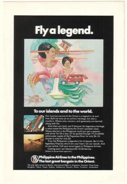 Philippine Airlines Fly a Legend Bailey art (1974)