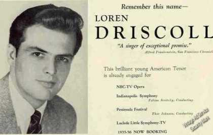 Loren Driscoll Photo Tenor Rare Music Booking (1955)