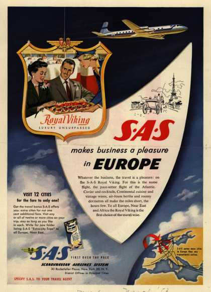 Scandinavian Airlines System – SAS makes business a pleasure in Europe (1953)