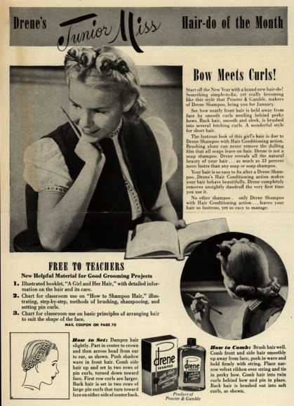 Procter & Gamble Co.'s Drene Shampoo – Drene's Junior Miss Hair-do of the Month, Bow Meets Curls (1946)