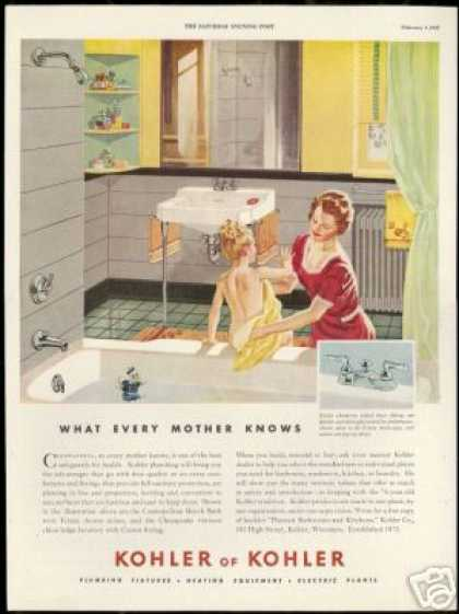 Kohler Bathroom Fixtures Mother Daughter Art (1947)