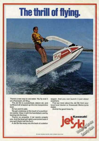 "Kawasaki Jet Ski Photo ""Thrill of Flying"" (1978)"
