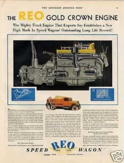 Reo Speed Wagon Truck Ad Gold Crown Engine (1929)